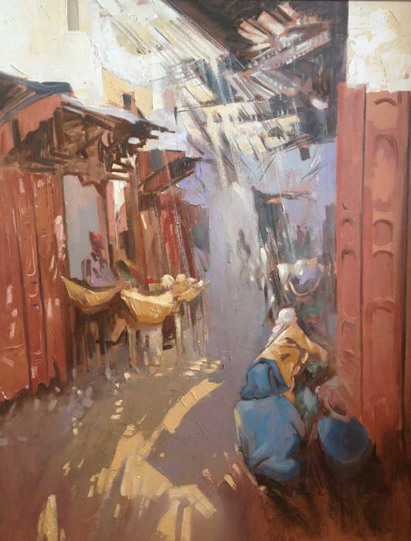 Old Streets in Fez Oil on canvas 80 x 60 cm