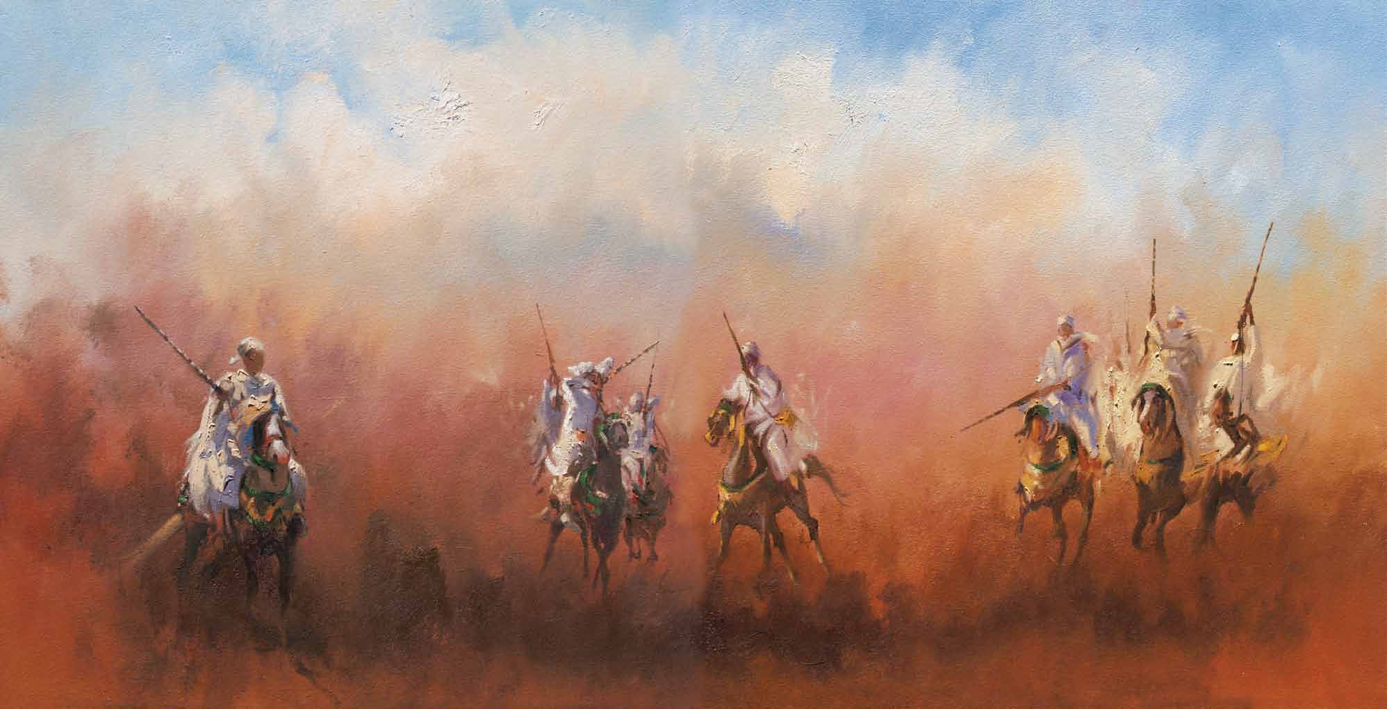 The Horsemens Oil on canvas 74 x 144 cm