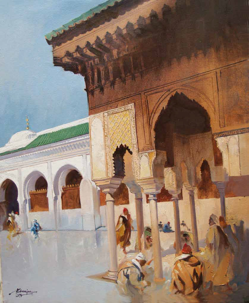 Mosque Quaraouiine in Fez Oil on canvas 100 x 80 cm