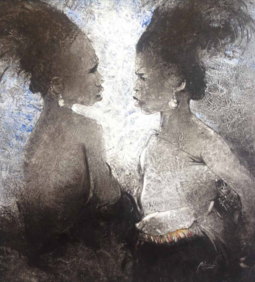 The Two Wives Oil on canvas 100 x 100 cm
