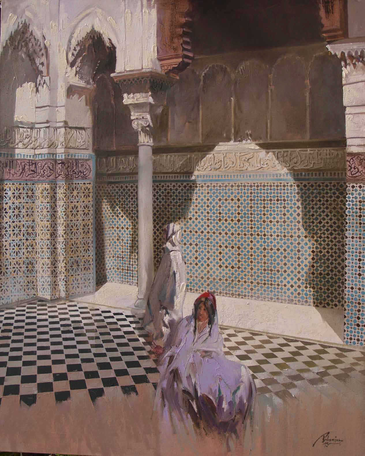 Attarine School in Fez Oil on canvas 100 x 80 cm